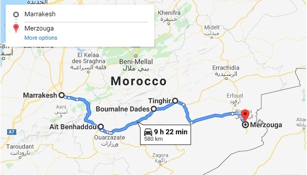 Desert Tour From Marrakech Map