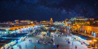 Marrakech jemaa el-fna square by night